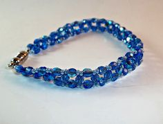 Blue RAW seed bead and bicone crystal bracelet by MarcysAttic, $30.00