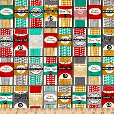 Kaufman Gran's Sewing Basket Bindings Grey from @fabricdotcom  Designed by Heidi Kenney for Robert Kaufman Fabrics, this cotton print fabric features cute vintage/retro sewing themes. Perfect for quilting, apparel, and home decor accents. Colors include grey, jade green, red, mustard, black, and cream.