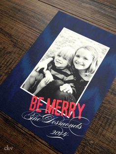 Holiday photocards in royal blue ikat pattern with fucshia accent by Catherine Kiff-Vozza, Couture Stationer #ckv