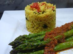 fischis cooking and more: kurkuma- gemüsereis mit spargel und mojo rojo