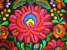 Embroidered matyó pillowcase from Hungary, detail.