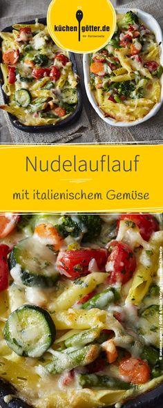 Rezept für italienischen Nudelauflauf mit Gemüse.
