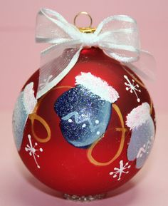 Personalized Winter Mittens Ornament - Babys Birth or Birthday or Christmas - Hand Painted Glass Ball Ornament