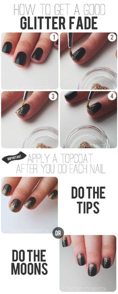 Nail Tutorial: How to get a good glitter fade. Ive always wondered the secret & now I know. :) {DIY NAIL ART DESIGNS} black gold glitter NailTutorial NailArt Link - 28 Nail Tutorials Best Ideas For This Summer New Year's Nails, Love Nails, How To Do Nails, Pretty Nails, How To Ombre Nails, Ombre Shellac, Shellac Nails, Acrylic Nails, Glitter Fade Nails