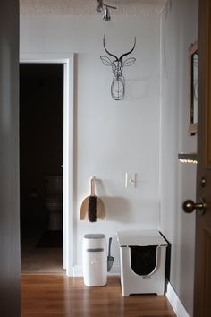 "In a small space, you often have to keep the litter box out in the open. If so, clean modern design is the way to go. According to the couple, ""Modko's Flip Litter Box has been a life saver""."