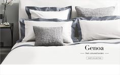 Deep stripe in grey - Genoa Bed Linen Collection from The White Company