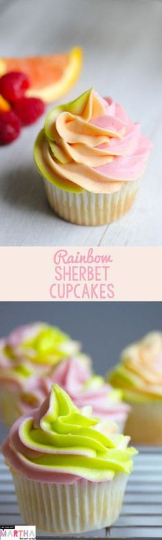 Rainbow Sherbet Cupcakes -- Raspberry, Orange, and Lime Flavors come together in this reimagined summertime treat.