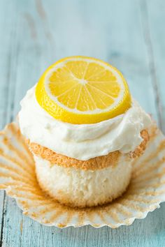 Lemon Angel Food Cupcakes - lemon angel food cake topped with lemon cream cheese whipped cream. They are delicious!!
