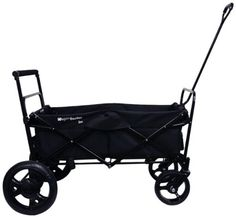 Go-Go Babyz Folding Wagon Stroller Cart, Black Hands free foot brake. Folds down flat for easy Storage. Straight, 3 position telescoping push handle with foam comfort grip.