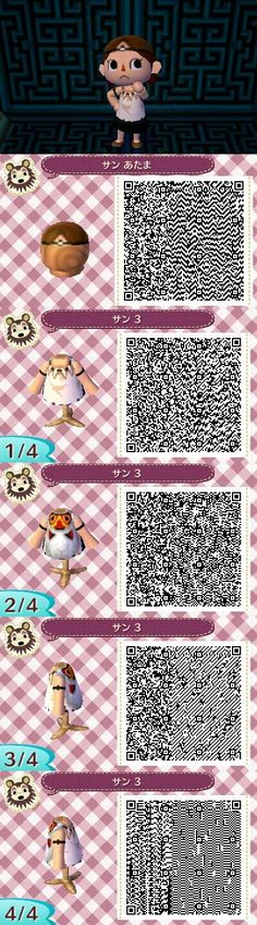 Animal Crossing: New Leaf QR Codes. I would SO make my avatar look like Princess Mononoke!