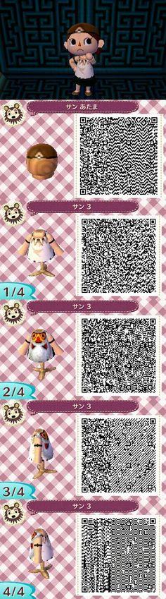 Animal Crossing: New Leaf QR Codes. I would SO make my avatar look like Princess Mononoke!