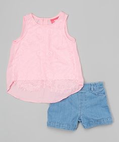 Loving this Pink & Blue Lace-Accent Top & Shorts - Toddler on #zulily! #zulilyfinds