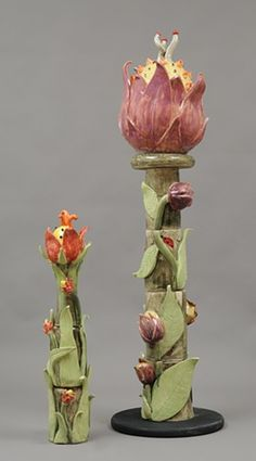"garden flowers.  54 x 13""  Peggy Bishop Pottery."
