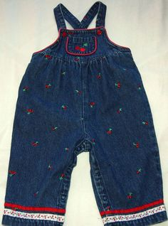 7ddabd59 Gymboree Girls 6-12 Months Denim with Cherries Embroidery Overalls 100%  Cotton #Gymboree