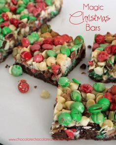 Magic Christmas Bars--Magic bars also known as Seven Layer bars all dressed up for the Holidays.