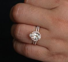 14k Rose Gold 10x7mm White Topaz Pear Engagement Ring and Diamond Wedding Band Set (Choose color and size options at checkout)