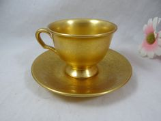 1950s Pickard 669 China Gold Teacup and Saucer - Spectacular American Gold Tea Cup - 2 Available