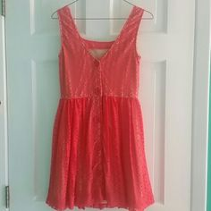 Beautiful lace summer dress Orange/peachy and lace button down dress. It's only been worn once for a graduation party. Size medium and it's from Charlotte Russe. Charlotte Russe Dresses