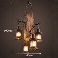 Industrial Pendant Light Ambient Light Wood / Bamboo Mini Style / Bulb N. Rustic Light Fixtures, Rustic Lighting, Home Lighting, Farmhouse Lighting, Cheap Chandelier, Lantern Chandelier, Ceiling Chandelier, Wood Pendant Light, Industrial Pendant Lights