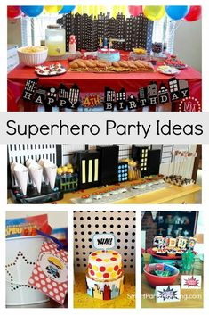 Awesome superhero party ideas that will have your kids showing off their superhero powers in no time at all. With ideas for decorations, food and party games you will easily win the status of superhero mom. These ideas can be achieved on a budget with a bit of DIY. The kids are going to love them. Superhero Party Decorations, Superhero Theme Party, Party Themes For Boys, Iron Man Party, Hulk Party, Wonder Woman Party, Epic Party, Party Food And Drinks, Boy Birthday Parties