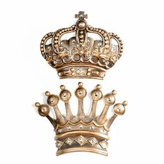 King And Queen Crown Wall Decor his/her crown gold jeweled wall plaque, set of 2 | walls, bedrooms