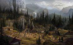 Скачать обои dragon age concept art горы водопад пейзаж раздел фантастика в разрешении 1680x1050 Medieval rpg Rpg Medieval