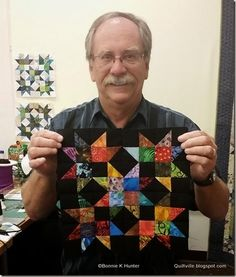 Each Scrap Crystals block has 96 pieces including 32 half square triangles that finish at 1.5""