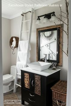 Turn any standard bathroom into one filled with FARMHOUSE features.
