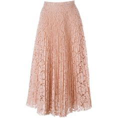 Valentino lace pleated skirt (12.730 BRL) ❤ liked on Polyvore featuring skirts, gonne, valentino, knee length lace skirt, valentino skirt, pink a line skirt, lace skirt and pink pleated skirt