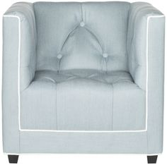 This child sized club chair exudes the timeless flair of button-tufted tuxedo styling. The chair is upholstered in soft blue with contrasting white piping. Its plush fill and birch wood legs recreate the character and style of armchairs in grownup living rooms. The chair measures 22.6