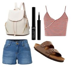 """""""Summer #2"""" by arkatonic on Polyvore featuring Topshop, LE3NO, Birkenstock and Giorgio Armani"""