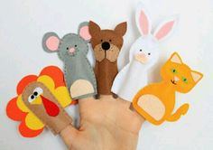 Felt finger puppets set - Animals from my yard - pack of 5 Felt Finger Puppets, Hand Puppets, Preschool Crafts, Crafts For Kids, Crib Decoration, Felt Monster, Operation Christmas Child, Baby Mermaid, Sewing Toys