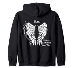 Dad Guardian Angel Shirt - Memorial Gift For Loss of Dad Zip Hoodie Cool Tee Shirts, Cool Tees, T Shirt, Funny Hoodies, Sweatshirts, Memorial Gifts, Zip Hoodie, Shirt Designs, Husband