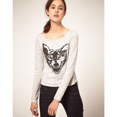 Textile Elizabeth And James Tshirt Long Sleeve With Printed Wolf ($73) ❤ liked on Polyvore featuring tops, t-shirts, women, graphic t shirts, long sleeve jersey, crop tee, long-sleeve crop tops and wolf t shirt
