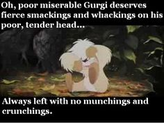 The Black Cauldron. Watching this today and Gurgi is SO CUTE! I like my munchings and crunchings too Gurgi.
