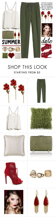 """""""~Summer Date: Rooftop Bar~"""" by amethyst0818 ❤ liked on Polyvore featuring Rebecca Taylor, H&M, Surya, Waterford, Alexander Wang, Charlotte Tilbury and The Sak"""