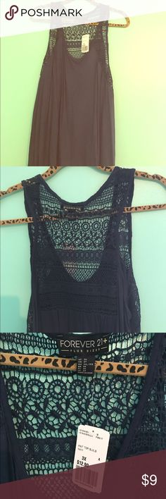 Plus size tank Forever 21 navy blue plus size tank in 3x. This is brand new with tags and features crochet inserts through the front chest area and back shoulders of the tank top. Forever 21 Tops Tank Tops