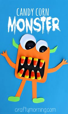 october crafts for kids Make some scary candy corn monster crafts with your kids! This is the perfect Halloween art project to make with them. Halloween Art Projects, Fröhliches Halloween, Halloween Themes, Halloween Projects For Toddlers, Classroom Halloween Party, Halloween Decorations, Fall Crafts, Holiday Crafts, Holiday Fun