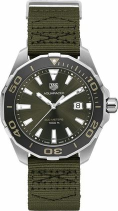 c11d5d60094 TAG Heuer Aquaracer WAY101E.FC8222 Men s Watch 43mm Steel Case Aluminum  Bezel Khaki Textile Strap