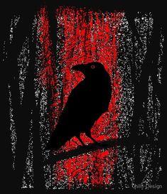 """Gothic Raven In Moonlight Forest Red Fire"" Photographic Prints by Chilli-Design | Redbubble | Vector illustration. Dark Celtic raven. Night raven sweatshirt. Gothic prophetic raven. Dark souls art prints. Dark magic illustration. Red fire t shirt design. Edgar Allen Poe. Nevermore Pullover Hoodie. Dark angels. Mystical powers. Black raven design. #artprint #illustration #illustrationart #Gothic #creepy #raven #celtic #twilight #mystery"