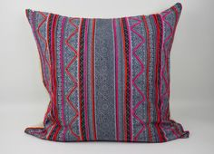 Throw Pillow Cover made from White Hmong  Batik by MyTribalPillows