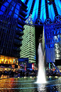 ღღ Berlin city tour at night - Sony Center Berlin