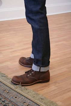 //\\ fashion, denim jeans, mens boots, men boots, cuff, red wings boots, red wing boots men, shoe, iron