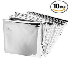 Emergency Mylar Thermal Blankets (Pack of 10). These are useful NOT ONLY for emergency use- They make a GREAT window shade device to prevent solar gain in summer! Put on the outside of your windows (cut to fit). They are moderately unsightly from outside but dramatically reduce damage to interior furnishings, they can be easily taken down- and put back up the next summer.
