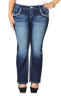 Plus Size Amethyst Slim Bootcut Jeans with Short Inseam and Swirl Trim