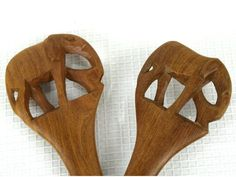 Vintage Elephant Wooden Spoon and Fork Hand Carved Wood Utensils