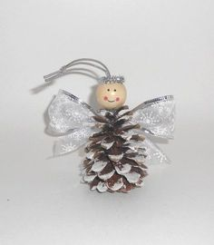 Christmas crafts for kids: Pinecone angel ornaments – DIY by Hanka Kids Crafts, Pinecone Crafts Kids, Pinecone Ornaments, Christmas Ornament Crafts, Christmas Crafts For Kids, Handmade Christmas, Holiday Crafts, Christmas Diy, Angel Ornaments