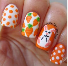 Peace, Love and Polish: Easter Nails: Bunny & Carrots
