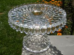 Fostoria American Crystal Clear Glass Pedestal Cake Stand Need this!