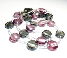Purple and Smoky Gray Glass Bead Necklace by tzteja on Etsy, $20.00